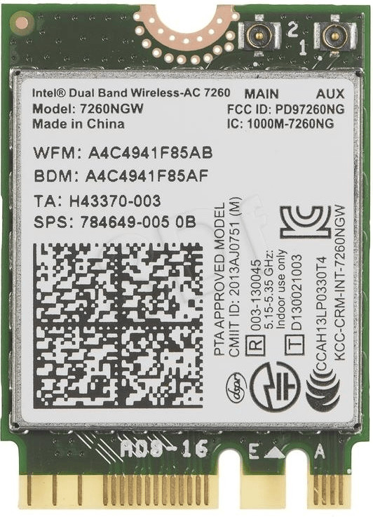 Intel Dual Band Wireless-AC 7260 2x2 Plus Bluet...