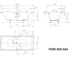 Fabulous Kaldewei Puro Duo 664 180 x 80 cm ab 472,03 € (September 2019 WR18