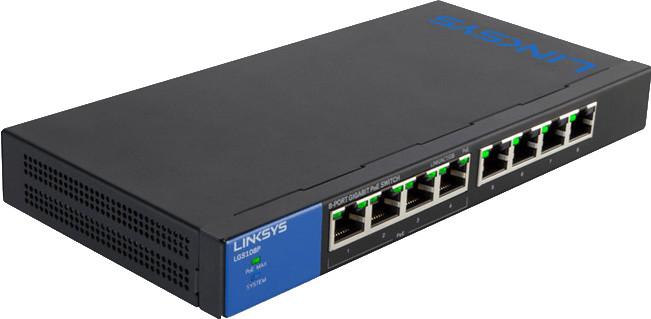 Image of Linksys 8-Port Desktop Gigabit PoE Switch (LGS108P)