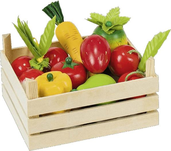 Goki Holzkiste mit 10 Obst und Gemüse