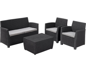 allibert corona lounge set mit kissenbox tisch 4 tlg polyrattan ab 329 90 preisvergleich. Black Bedroom Furniture Sets. Home Design Ideas