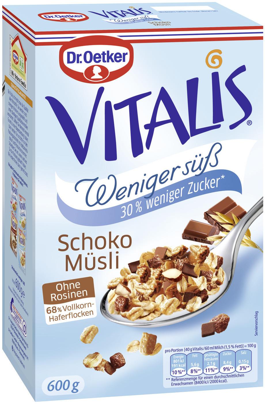Dr. Oetker Vitalis weniger süß Schoko Müsli (60...