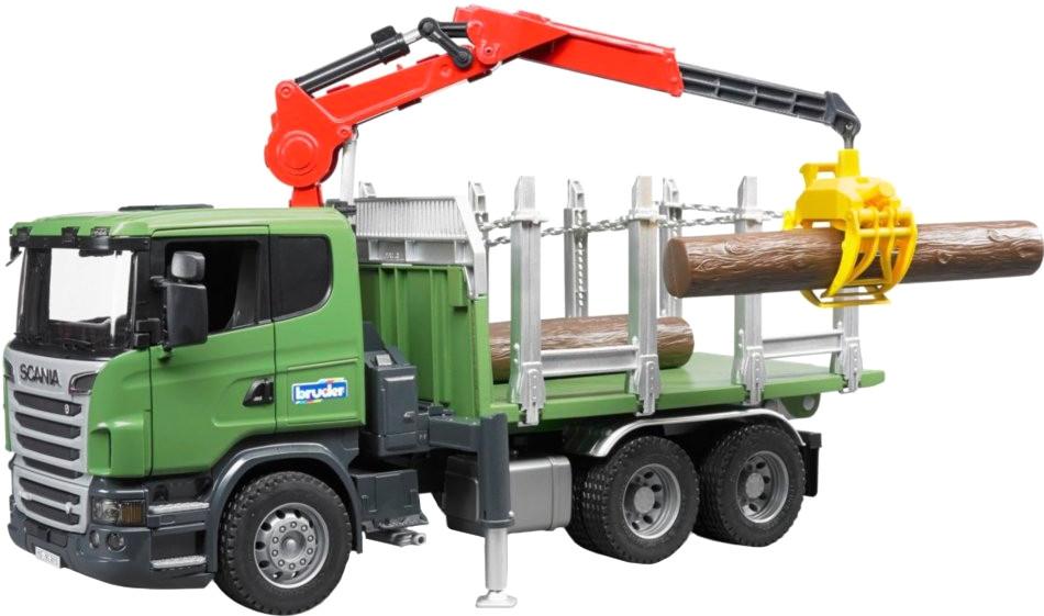 Bruder Scania R-Serie Holztransport-LKW mit 3 Baumstämmen (03524)