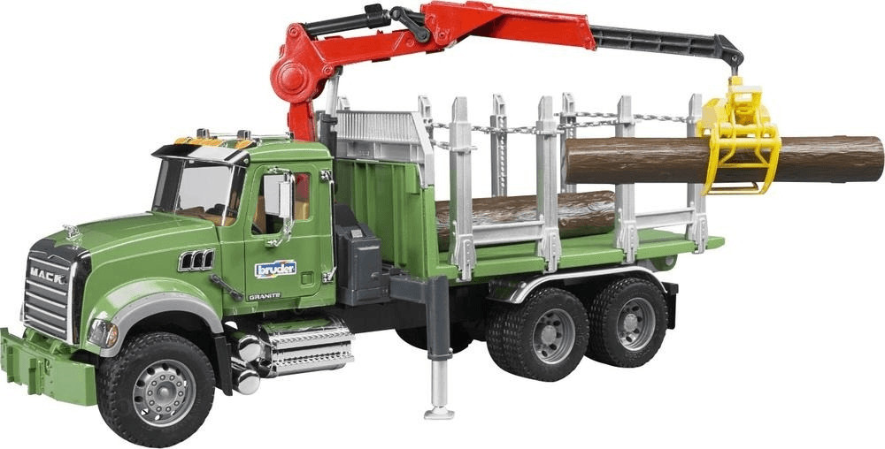 Bruder Mack Granite Holztransporter-LKW mit 3 Baumstämmen (02824)