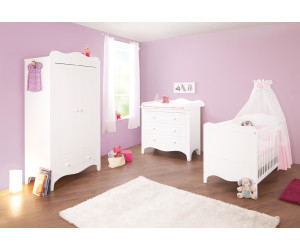 pinolino kinderzimmer fleur 3 tlg wickelkommode breit kleiderschrank 2 trg ab. Black Bedroom Furniture Sets. Home Design Ideas