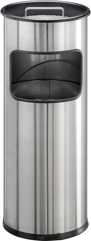 Papierkorb Edelstahl mit Ascher rund 17+2l metallic silber