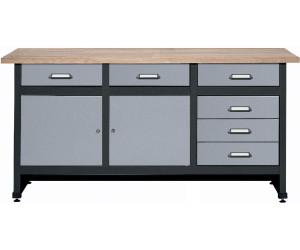 k pper werkbank 170 cm 2 t ren 6 schubladen 12176 hammerschlag silber ab 299 00. Black Bedroom Furniture Sets. Home Design Ideas