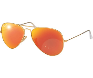 Ray Ban Ray-Ban Sonnenbrille »aviator Large Metal Rb3025«, Goldfarben, 112/4d - Gold/rot