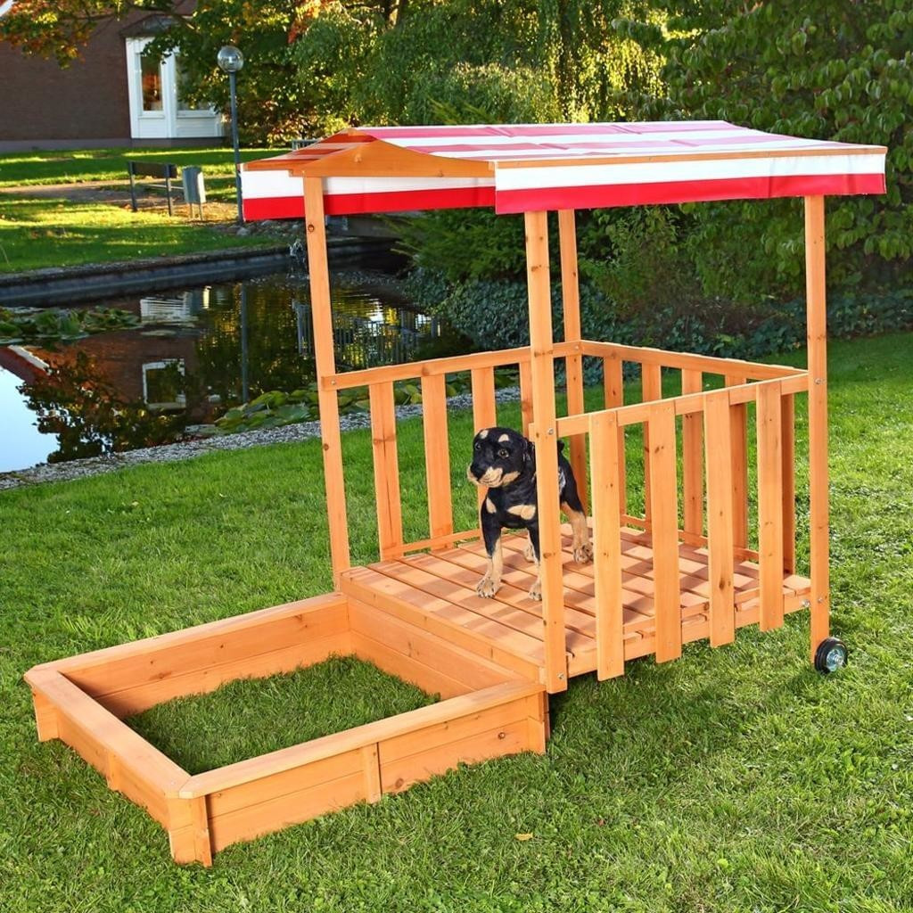 Mucola XL Sandkasten / Spielhaus mit Sandkiste (rot)