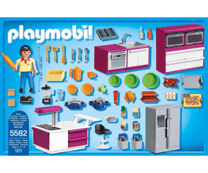 Buy playmobil city life kitchen plus island play set 5582 for Cuisine playmobil