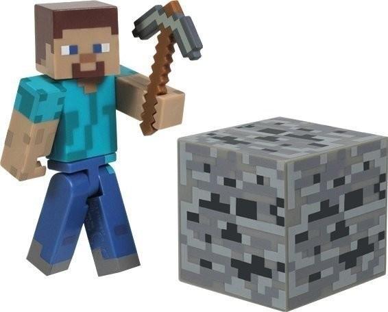 Jazwares Minecraft Overworld Steve with Coal Ore Block & Iron Pickaxe