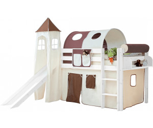 ticaa lit mezzanine avec toboggan et tour kasper au meilleur prix sur. Black Bedroom Furniture Sets. Home Design Ideas