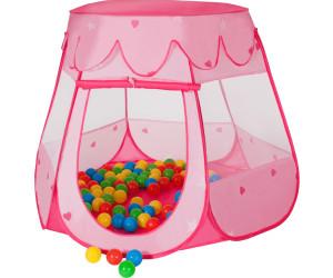 TecTake Kinderzelt Bällebad mit 100 Bällen + Tasche pink