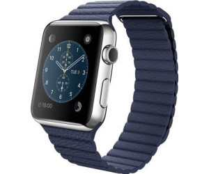 Apple Watch 42mm Stainless Steel, Bright Blue Leather Loop