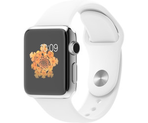 Apple Watch 38mm Stainless Steel, White Sport Band