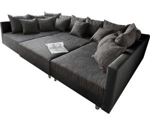 Ledercouch schwarz kissen  DeLife Clovis XXL 300x185cm schwarz Kissen Hocker ab 779,00 ...