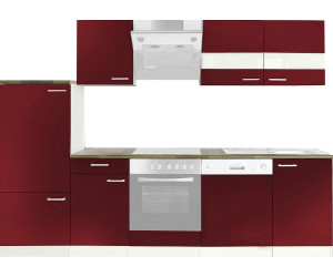 respekta k chenzeile 280cm rot mit ger ten ab preisvergleich bei. Black Bedroom Furniture Sets. Home Design Ideas