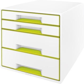Leitz Box Wow Cube (4 Schübe) perlweiß/grün