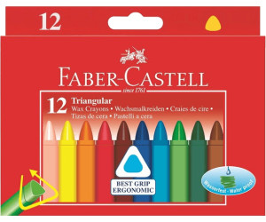 FABER-CASTELL Dreikant Wachsmalkreide 12er Kartonetui