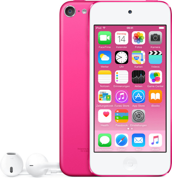 "Apple iPod touch - 6. Generation - Digitalplayer - Apple iOS 8 - Flash 16GB -Anzeige: 10,2 cm (4"" ) - pink (MKGX2FD/A)"