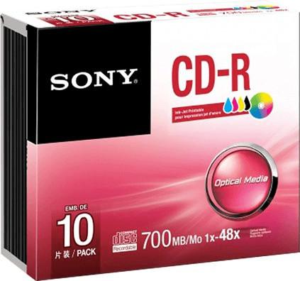 Sony CD-R 700MB 48x Tintenstrahl bedruckbar 10e...