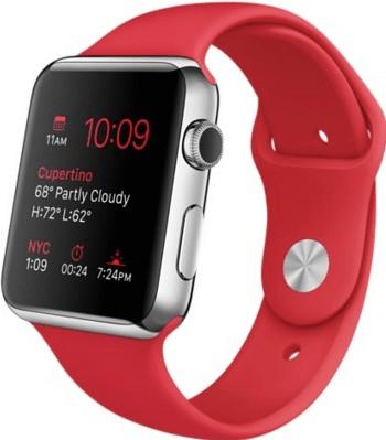 Apple Watch 42mm cassa in acciaio con cinturino sport rosso