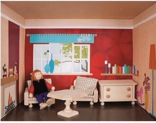 Rülke Puppenhaus im Regal - Wohnzimmer