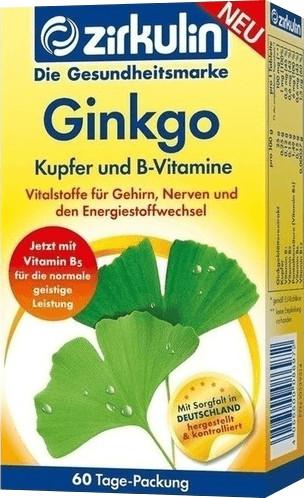 Zirkulin Ginkgo Kupfer und B Vitamine Tabletten (60 Stk.)