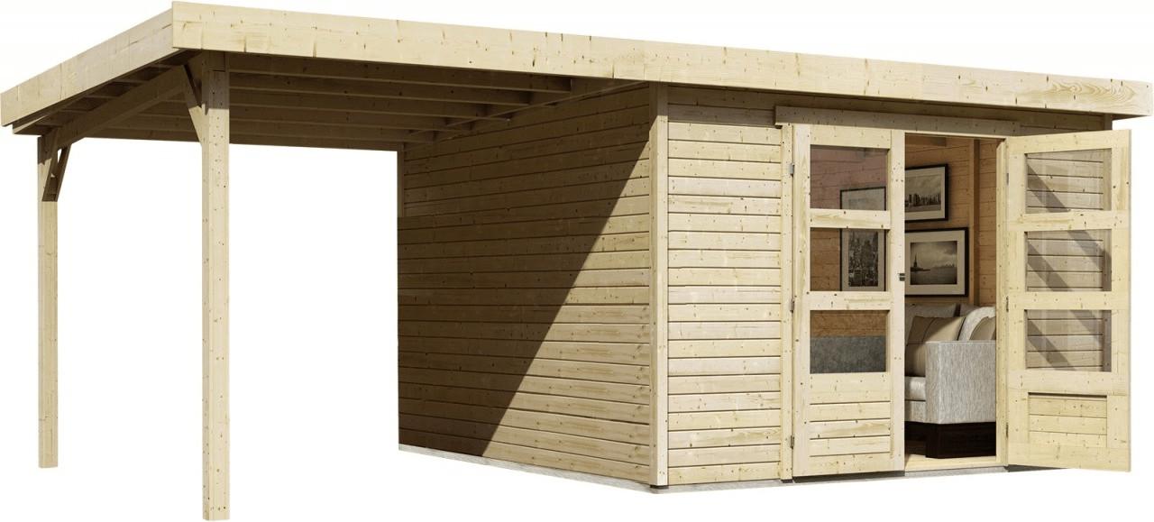 Woodfeeling Askola 4 mit Schleppdach (225 + 302 x 217 cm) | Garten > Gerätehäuser | Fichte