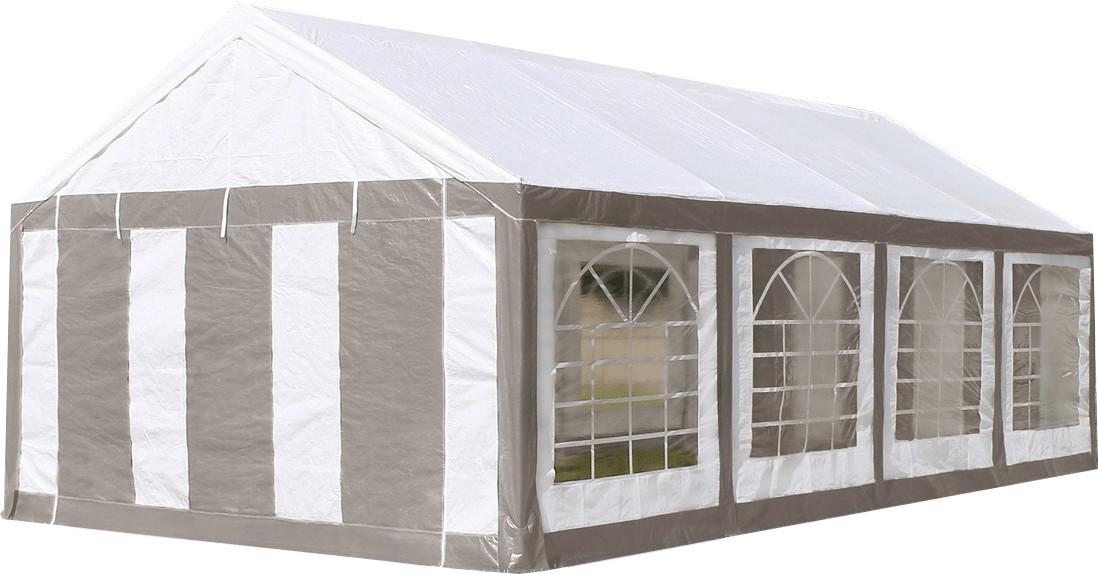Toolport Partyzelt 4 x 8 m Premium weiß/grau