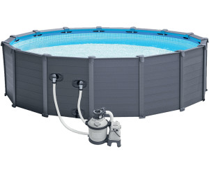 Intex graphite 478 x 124 cm mit sandfilter komplett set for Swimmingpool abverkauf