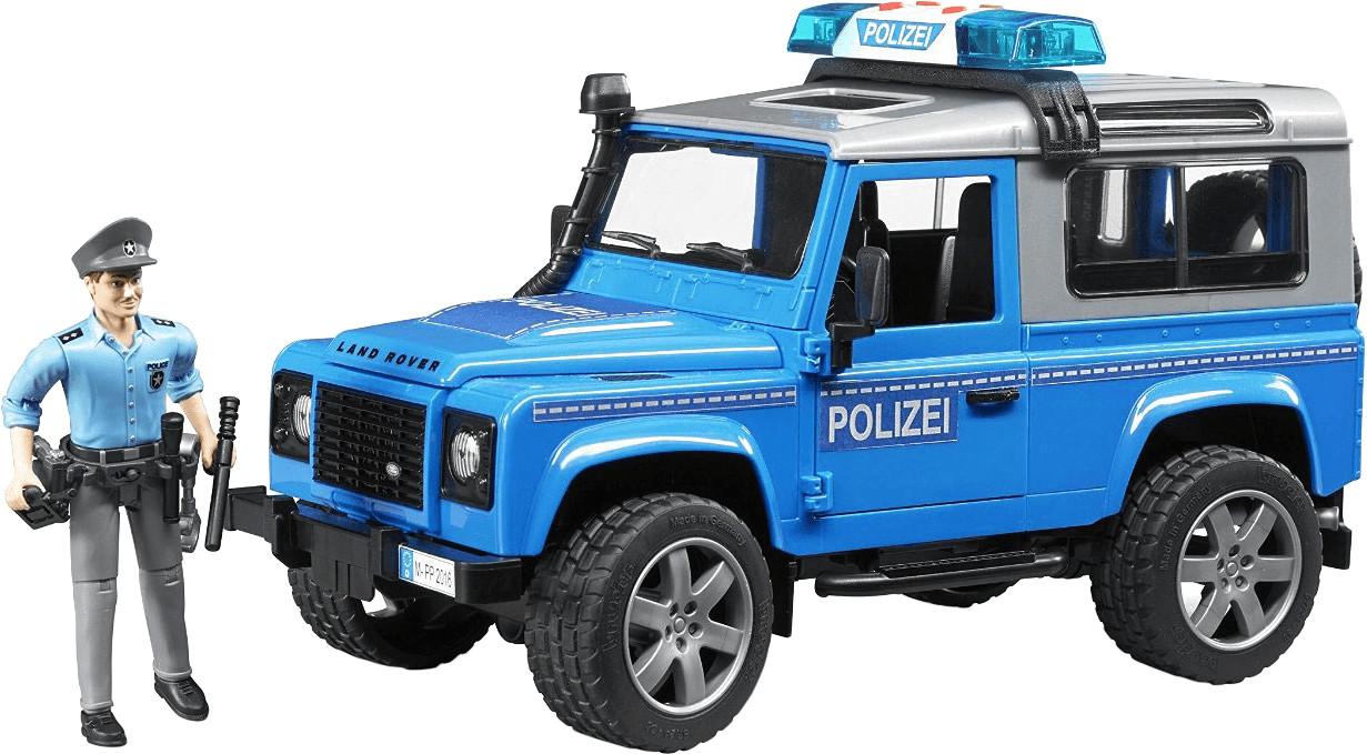 Bruder Land Rover Defender Station Wagon Polizeifahrzeug mit Polizist (02597)