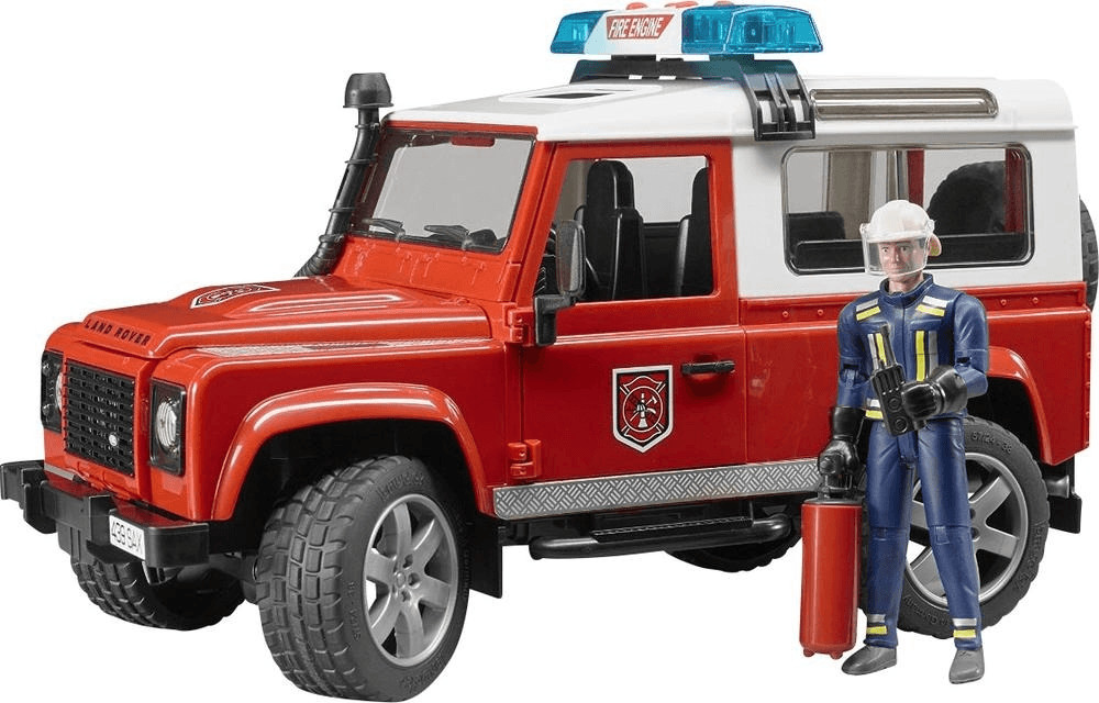 Bruder Land Rover Defender Station Wagon Feuerwehr-Einsatzfahrzeug mit Feuerwehrmann (02596)