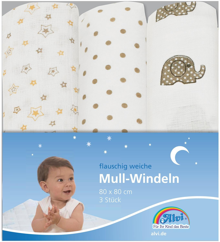 ALVI Mull Windeln (80 x 80 cm) 3er Pack Elefant