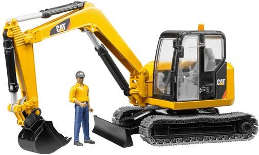 Bruder Cat Minibagger mit Bauarbeiter (02466)