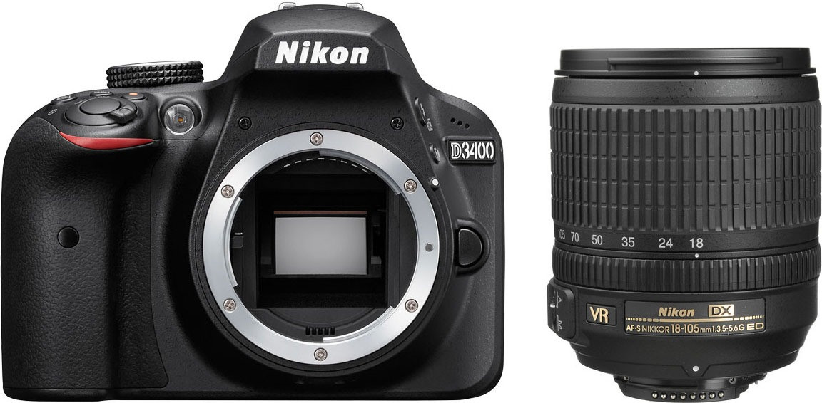 Nikon D3400 18-105mm Af-s DX VR With SD 8 GB NITAL 4 Years