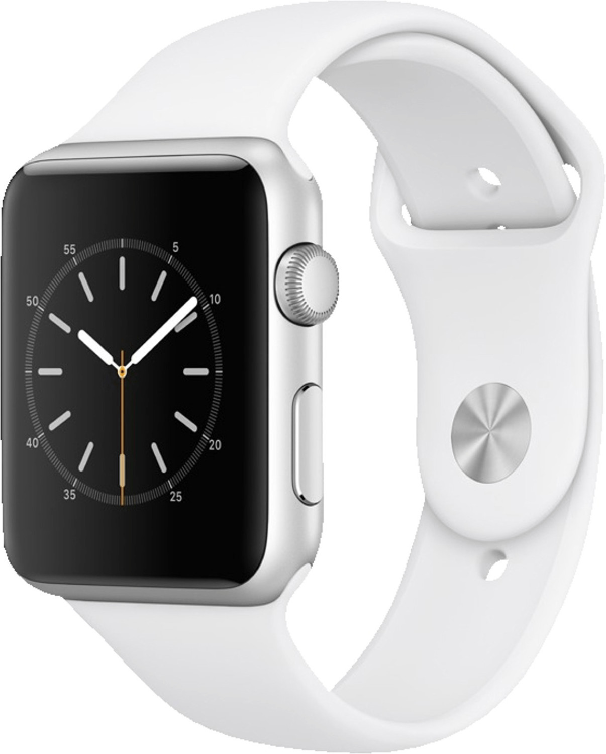 Apple Watch Series 1 42 mm plateado y correa deportiva blanca