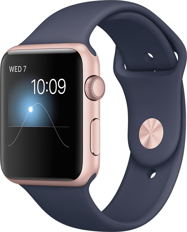 Apple Watch Series 1 42mm oro rosa con cinturino Sport blu notte