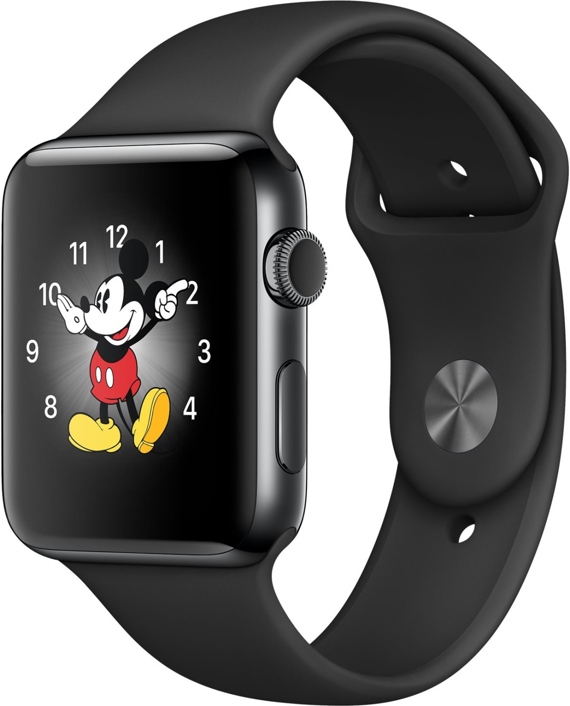 Apple Watch Series 2 38mm cassa in acciaio inossidabile grigio siderale con cinturino sport nero