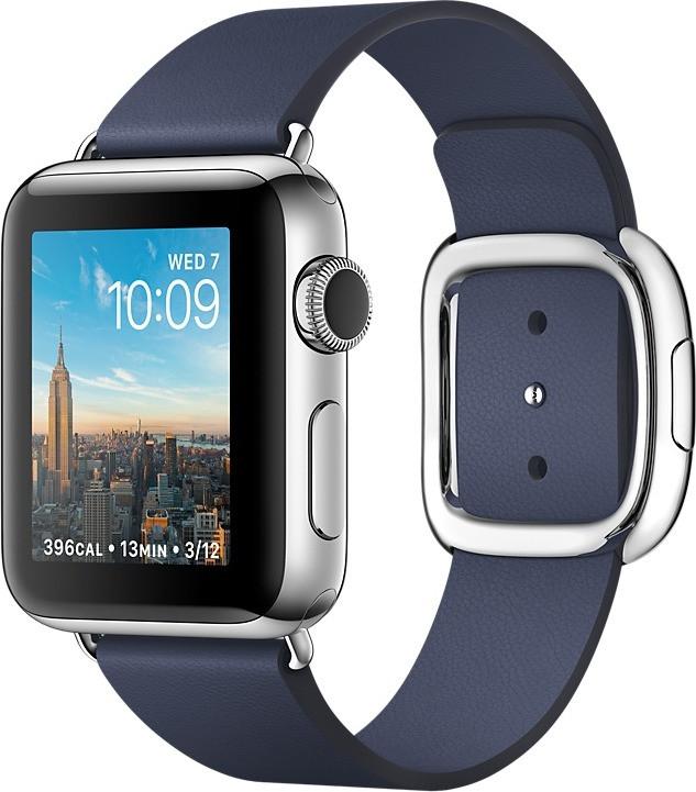 Apple Watch Series 2 38mm cassa in acciaio inossidabile argento con cinturino modern blu notte