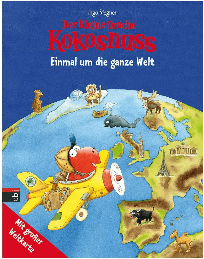 Der kleine Drache Kokosnuss - Einmal um die ganze Welt: Kinderatlas mit großer Weltkarte (Band 4) (Ingo Siegner)