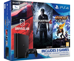 Sony PlayStation 4 (PS4) Slim 1TB + DriveClub + Uncharted 4: A Thief's End + Ratchet & Clank