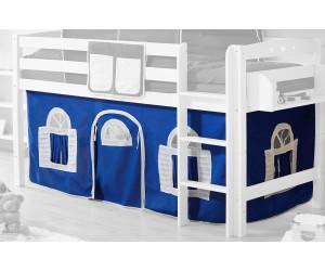 Ticaa Vorhangstoff Classic für Hochbett Landhausoptik blau