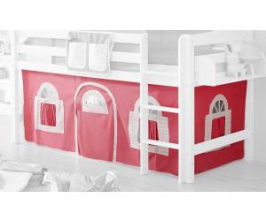 Ticaa Vorhangstoff Classic für Hochbett Landhausoptik rosa