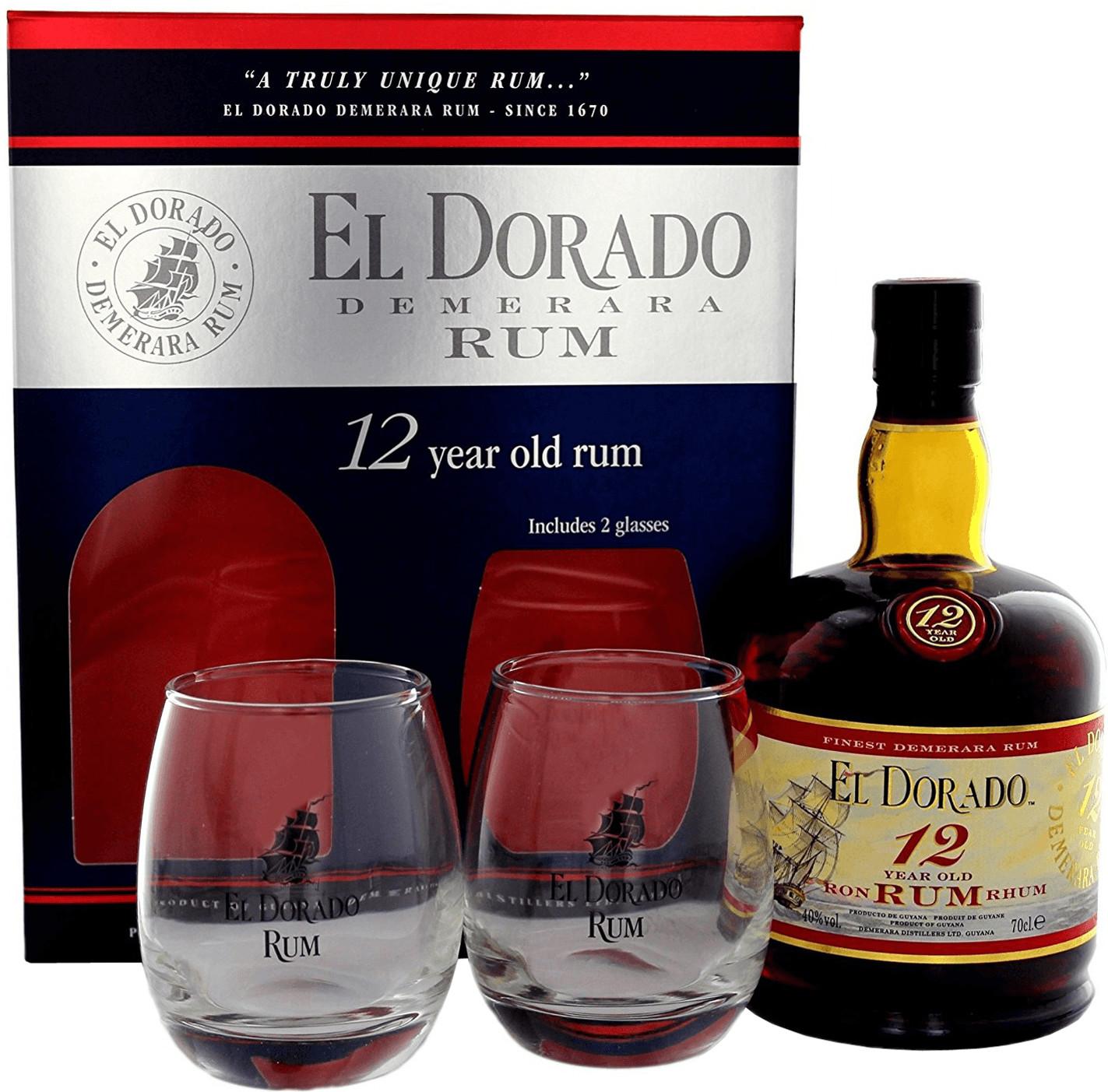 El Dorado 12 Jahre in Geschenkverpackung mit 2 Gläsern 0,7l 40%
