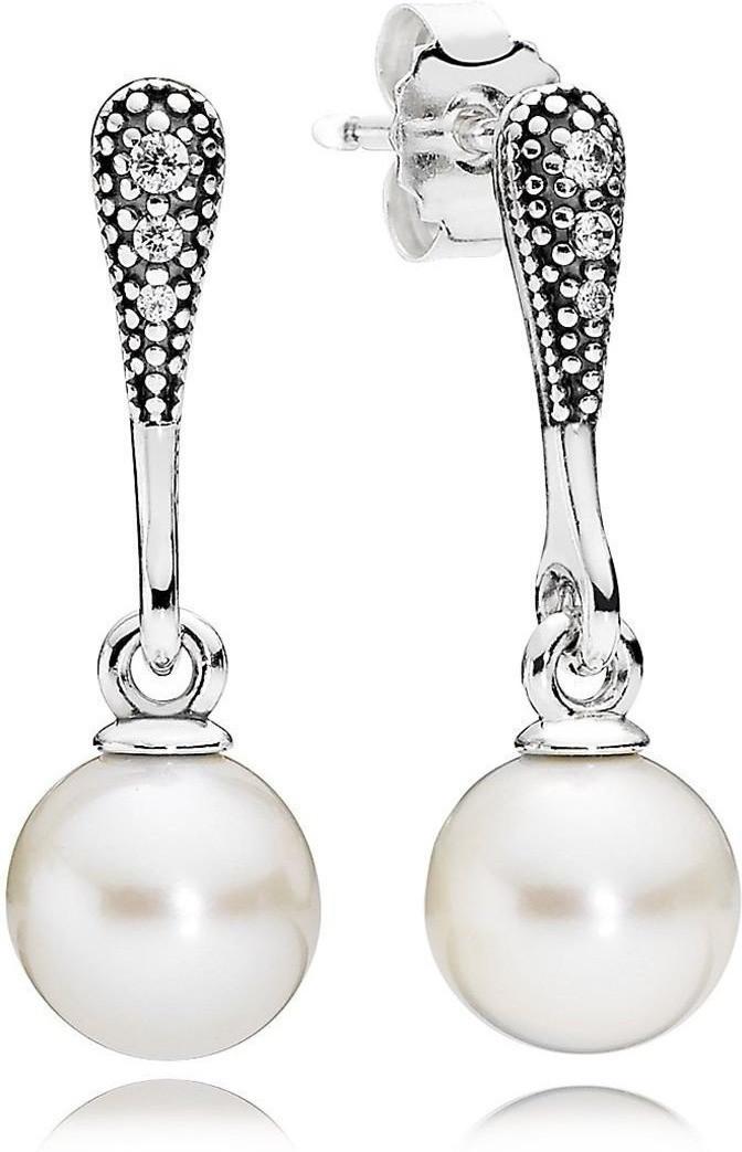 Pandora Auténtico Elegante Pendientes Belleza, Perla Blanca,