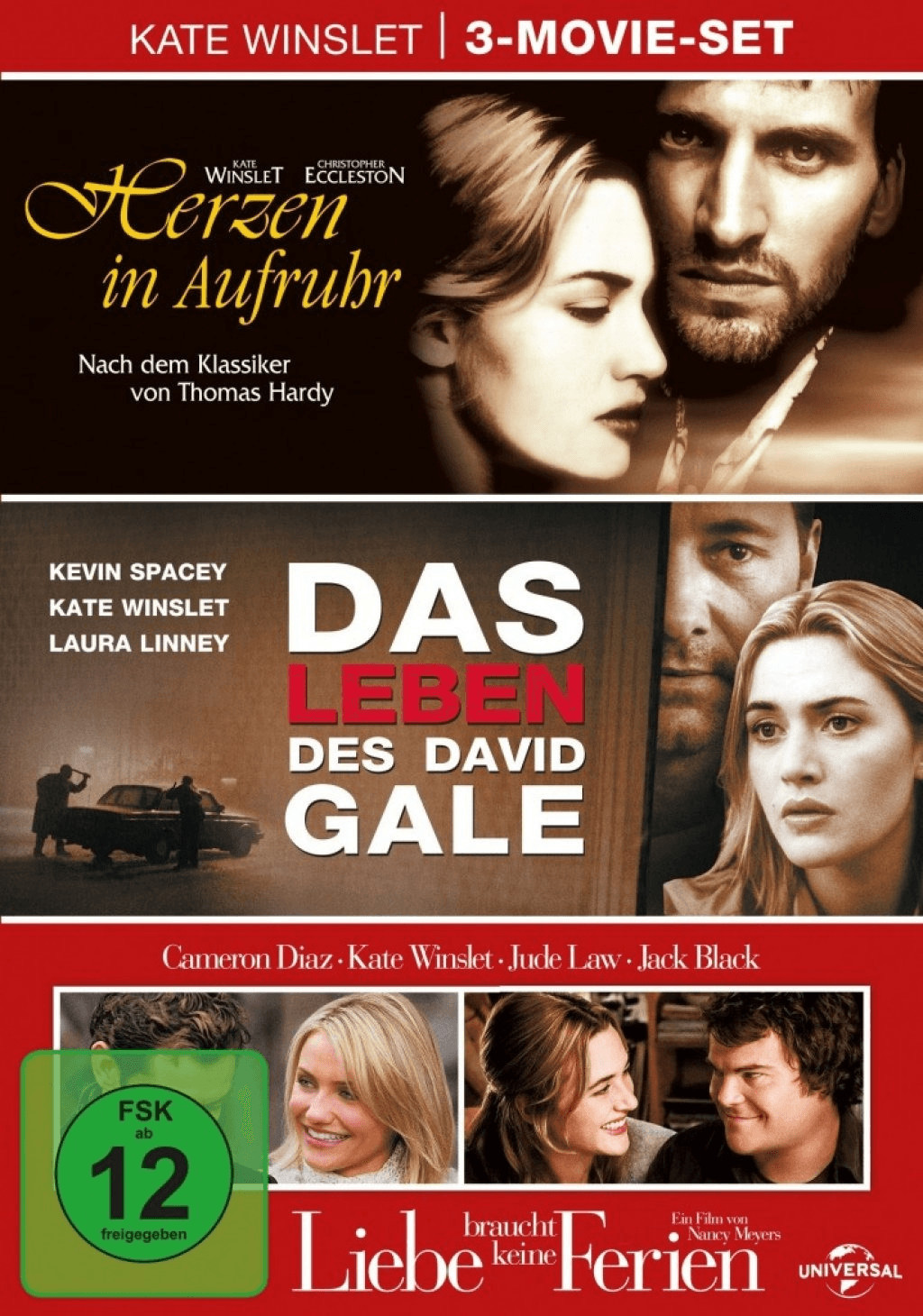Kate Winslet - 3 Movie Set: Liebe braucht keine Ferien / Das Leben des David Gale / Herzen in Aufruhr [DVD]