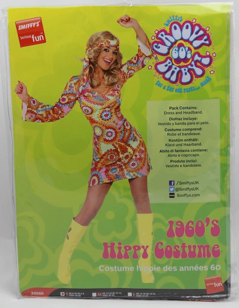 Smiffy´s 1960er Hippie Damenkostüm Gr. L (34060)