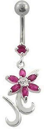 SkinArt Bauchnabelpiercing Blume rosa (ACS12)