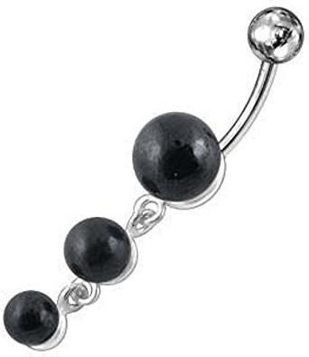 SkinArt Bauchnabelpiercing 3 Perlen schwarz (AC...